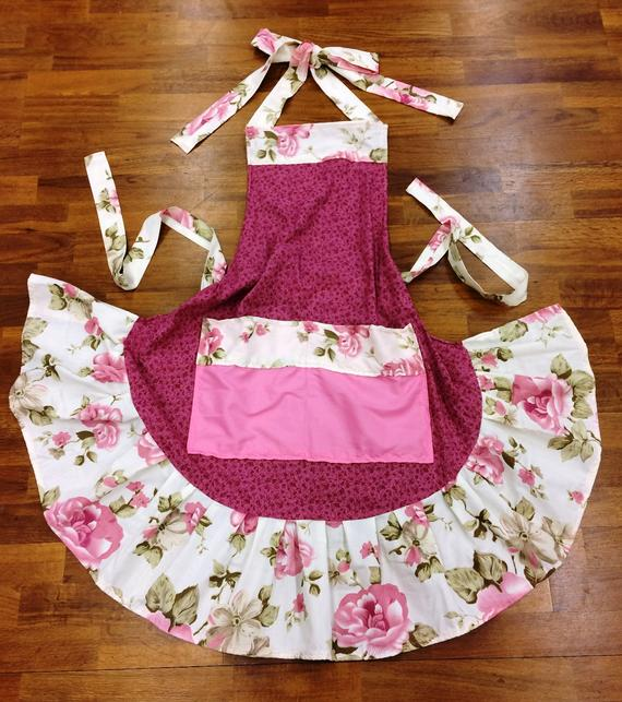 Pretty in Pink Ruffled Floral Apron from Heidi at Rain Country Homestead on Etsy