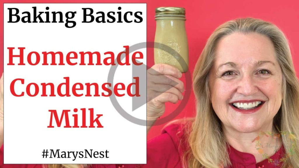 Mary holding a bottle of condensed milk.